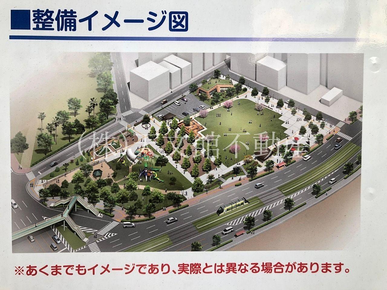 鹿児島市加治屋町 旧市立病院跡地の公園イメージ図