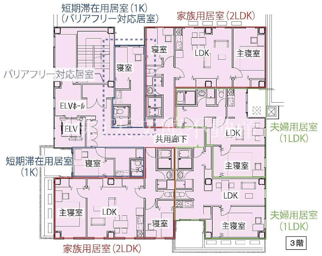 鹿児島市加治屋町の鹿児島国際交流センターの3階の見取り図