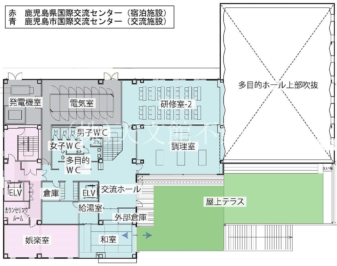 鹿児島市加治屋町の鹿児島国際交流センターの2階の見取り図