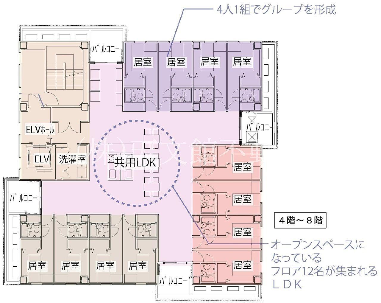 鹿児島市加治屋町の鹿児島国際交流センターの4階の見取り図