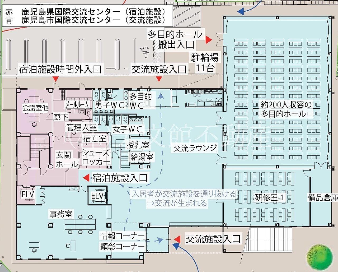鹿児島市加治屋町の鹿児島国際交流センターの1階の見取り図