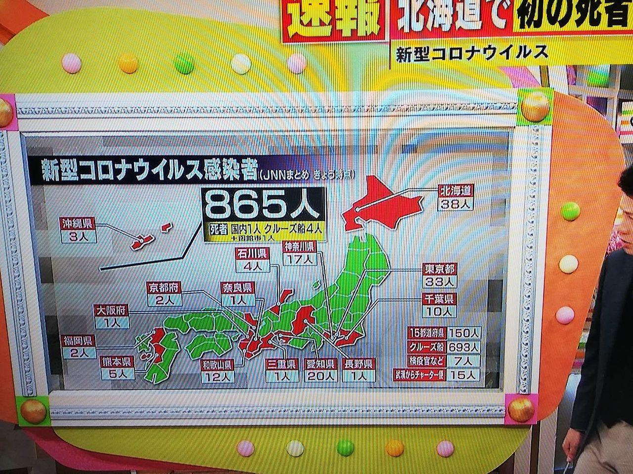 新型コロナウイルス感染者、全国で865人。日本にも広がってきました。