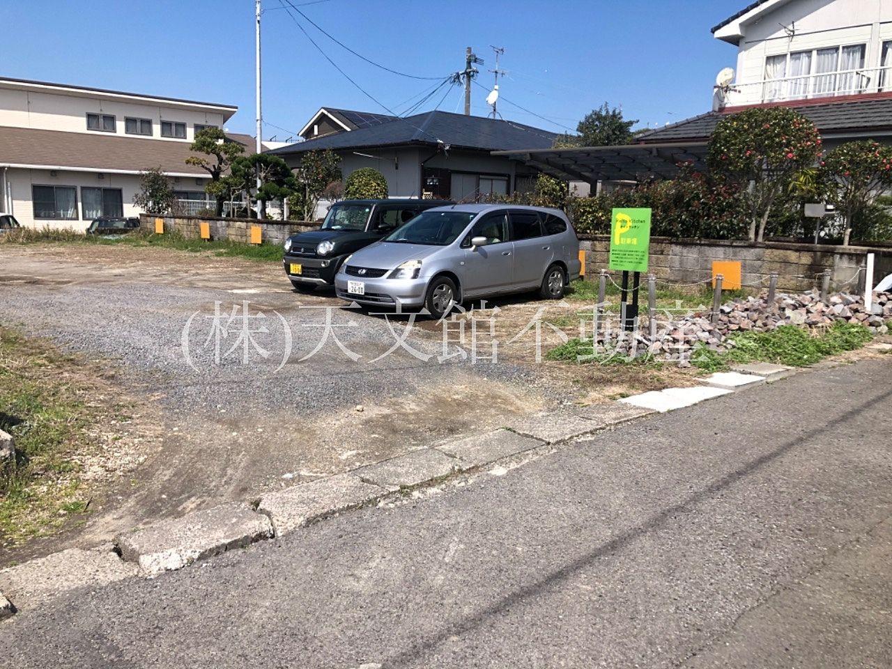 鹿児島市吉野町「ケイトキッチン」の駐車場案内看板です。4枚の緑の看板が目印です。