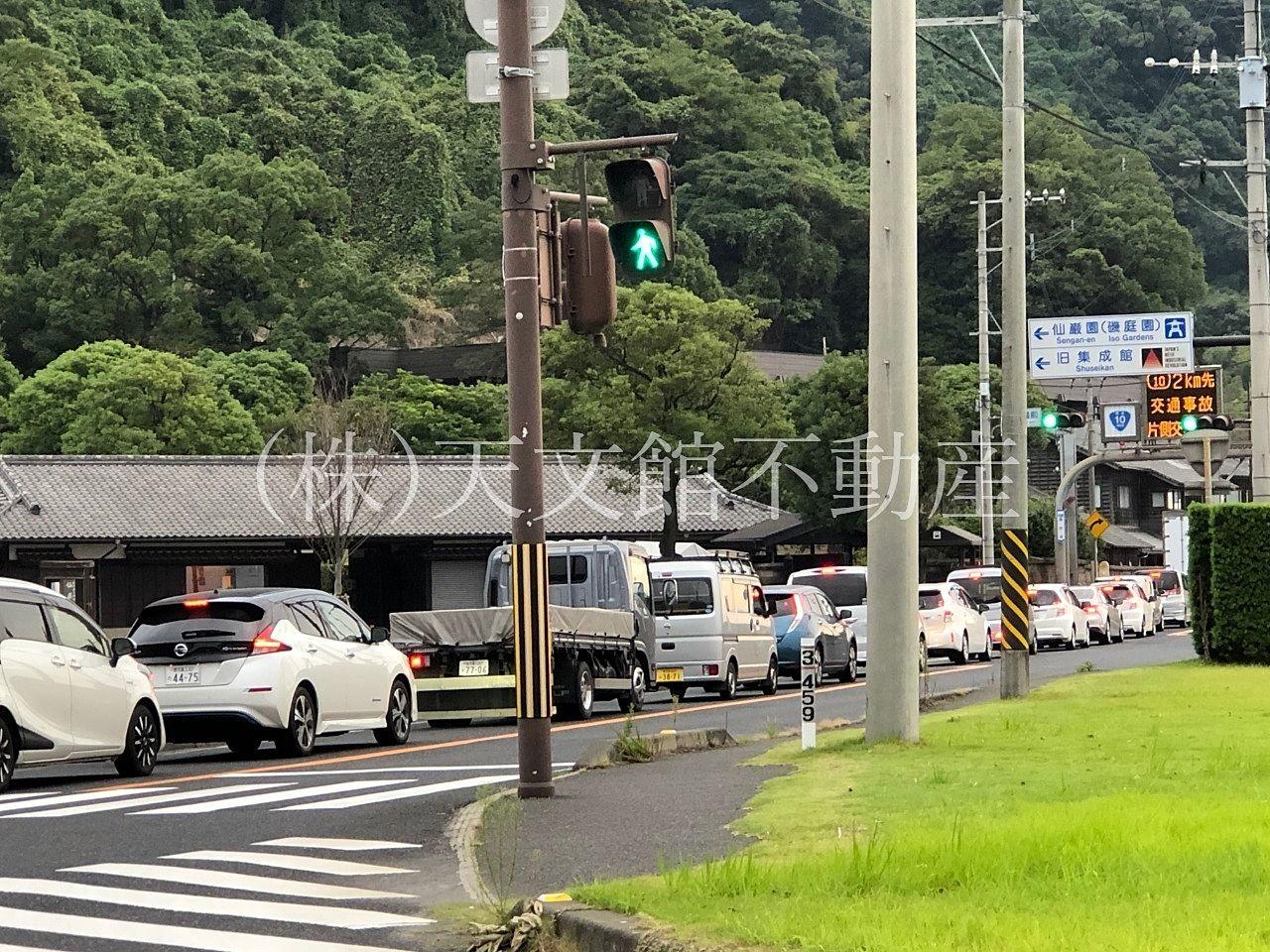 鹿児島市の仙厳園前の大渋滞